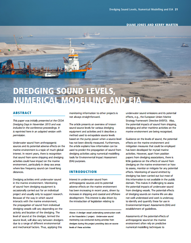 Dredging Sound Levels, Numerical Modelling and Environmental Impact Assessment (EIA)