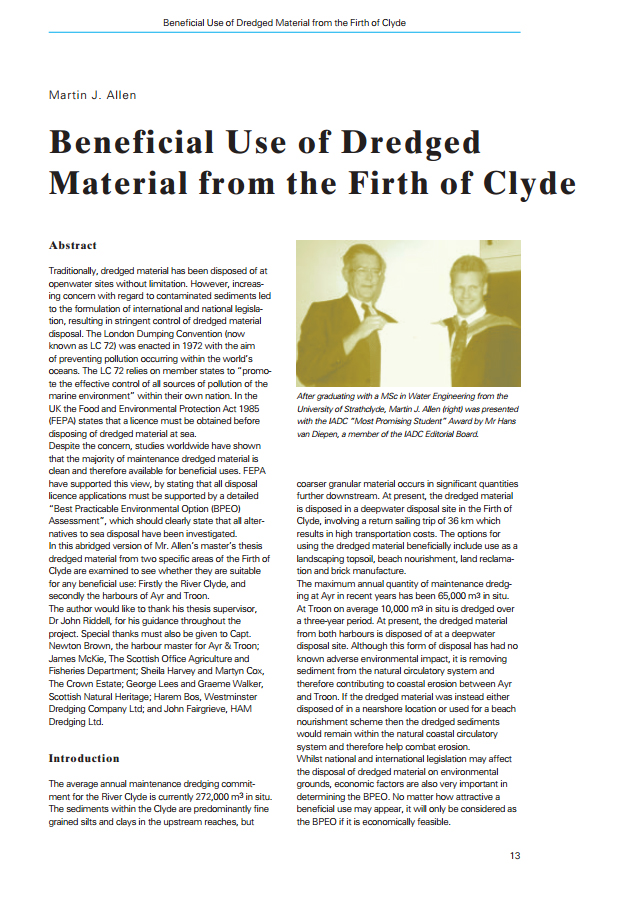 Beneficial Use of Dredged Material from the Firth of Clyde