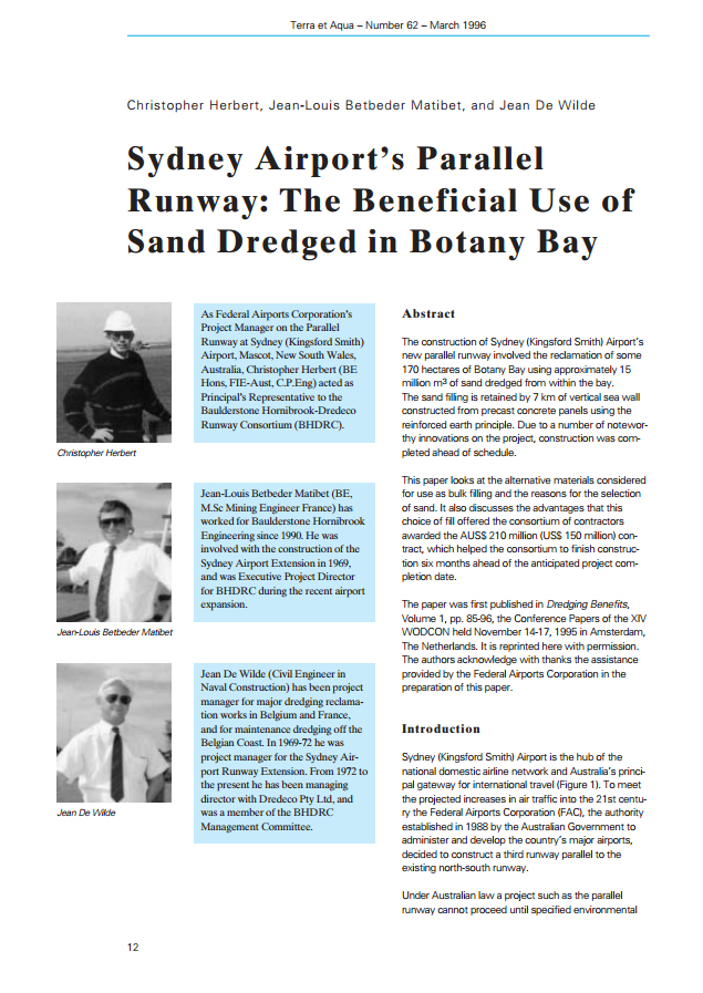 Sydney Airport's Parallel Runway: The Beneficial Use of Sand Dredged in Botany Bay