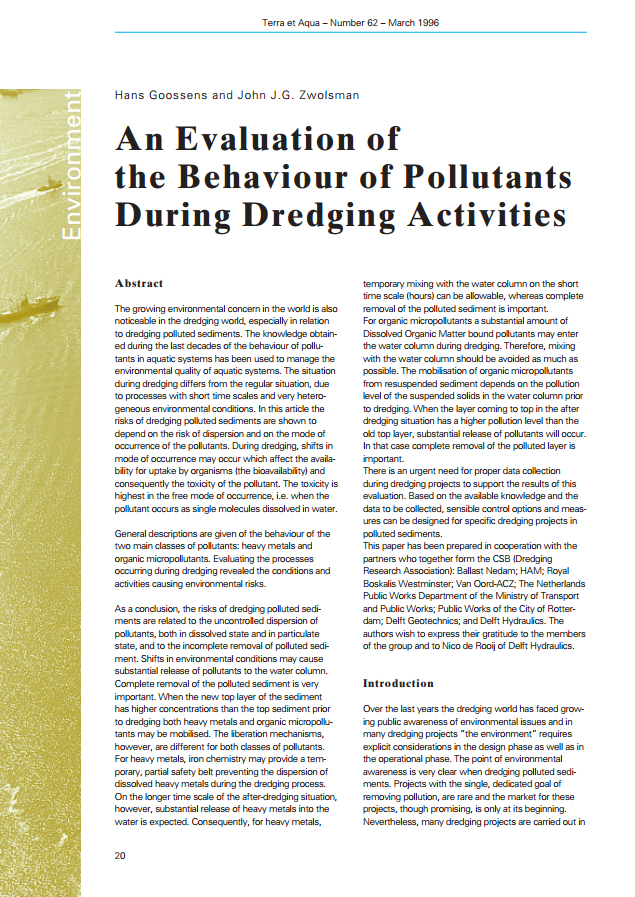 An Evaluation of the Behaviour of Pollutants During Dredging Activities