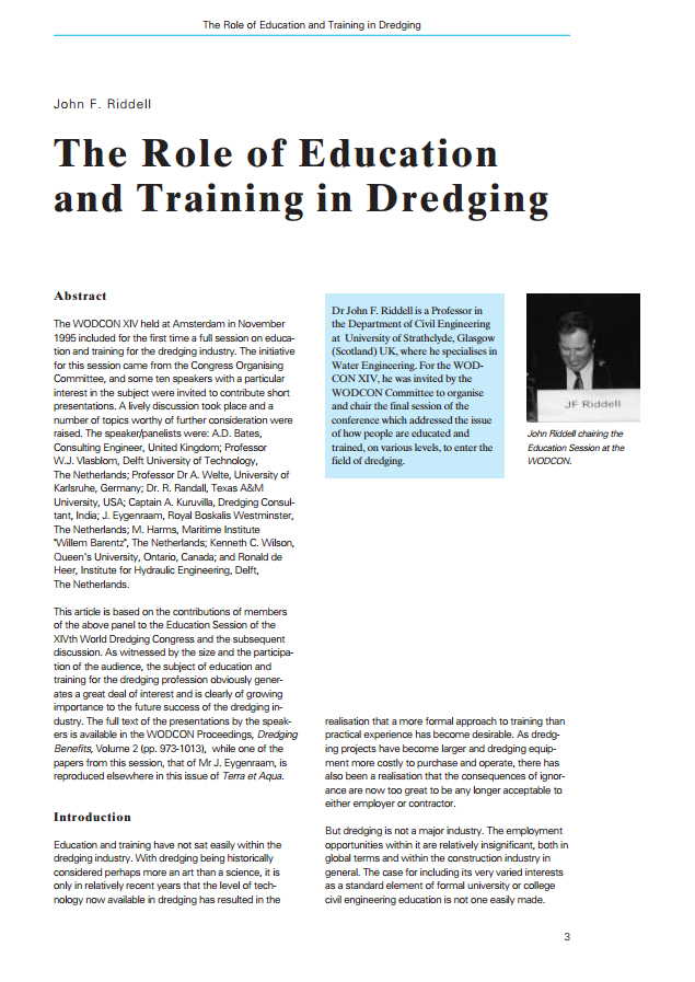 The Role of Education and Training in Dredging