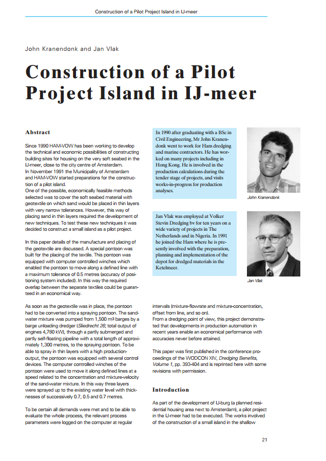 Construction of a Pilot Project Island in IJ-meer
