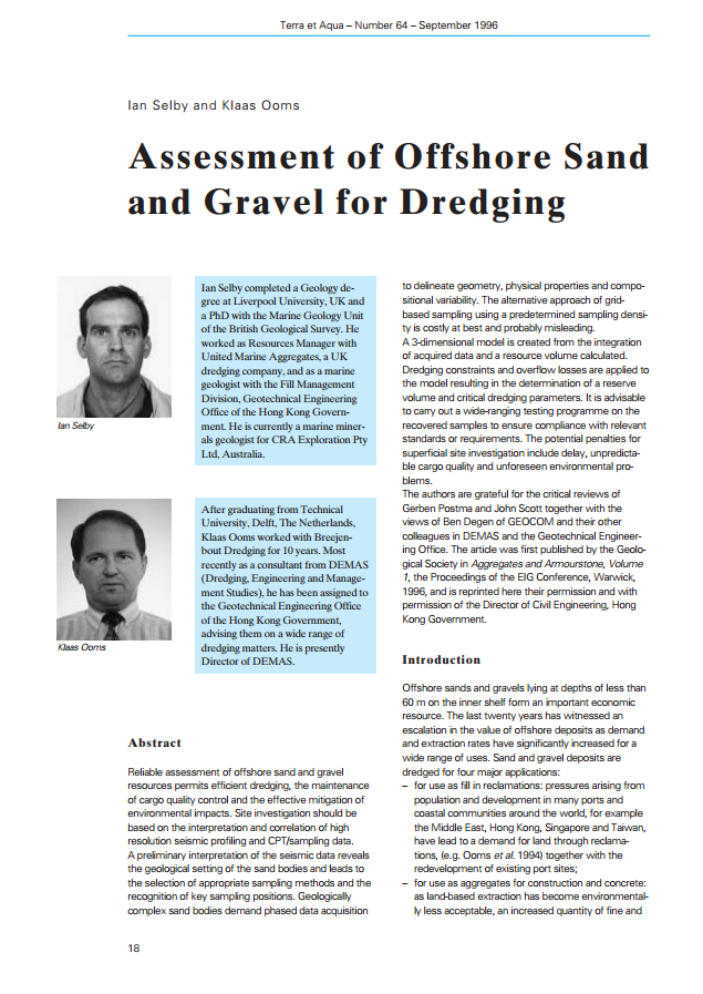 Assessment of Offshore Sand and Gravel for Dredging
