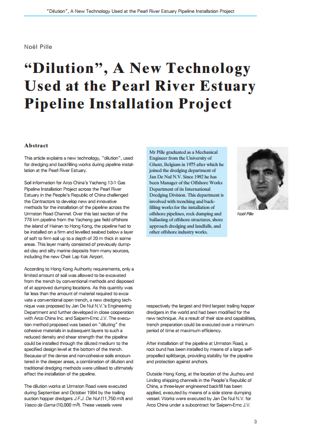 """Dilution"", A New Technology Used at the Pearl River Estuary Pipeline Installation Project"