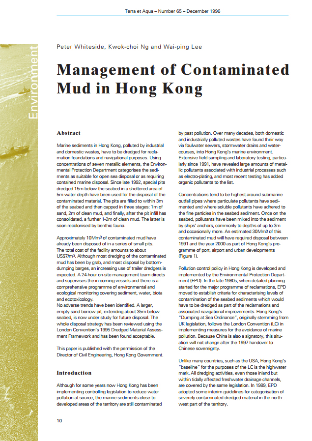 Management of Contaminated Mud in Hong Kong