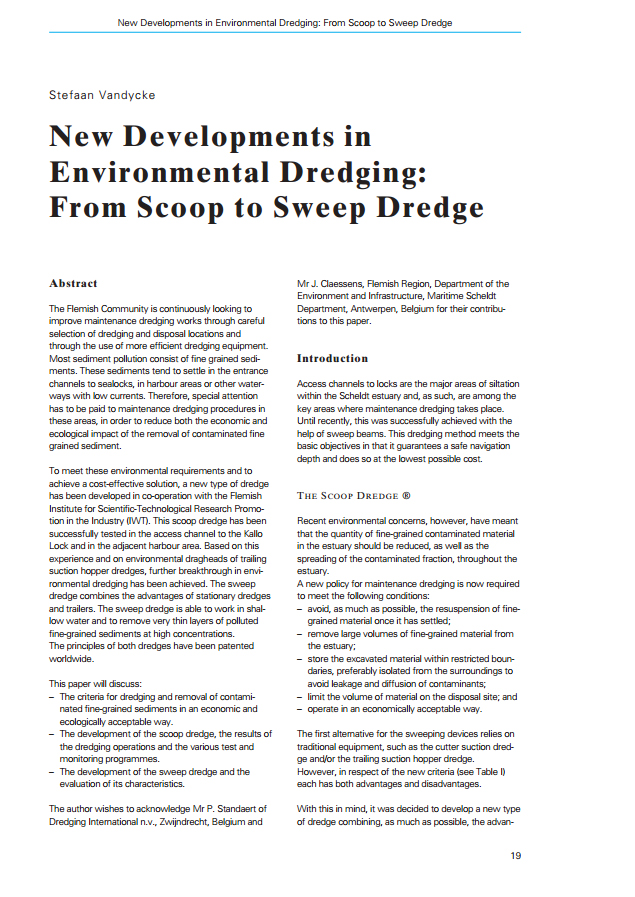 New Developments in Environmental Dredging: From Scoop to Sweep Dredge