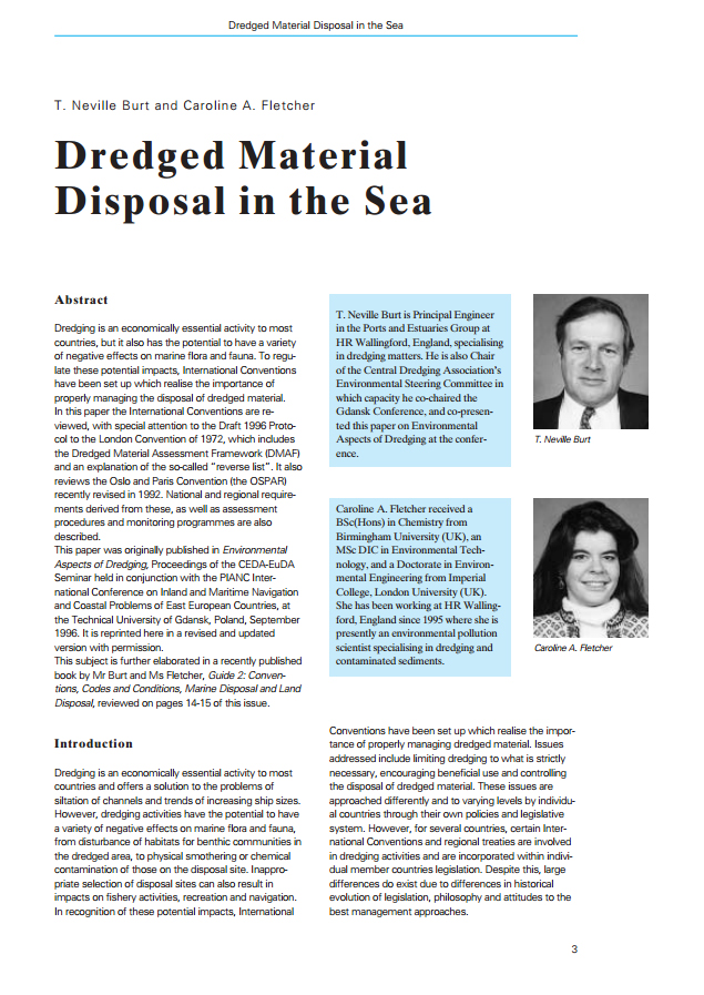 Dredged Material Disposal in the Sea