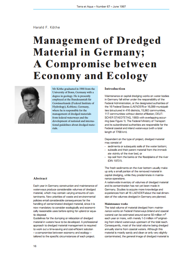 Management of Dredged Material in Germany; A Compromise between Economy and Ecology