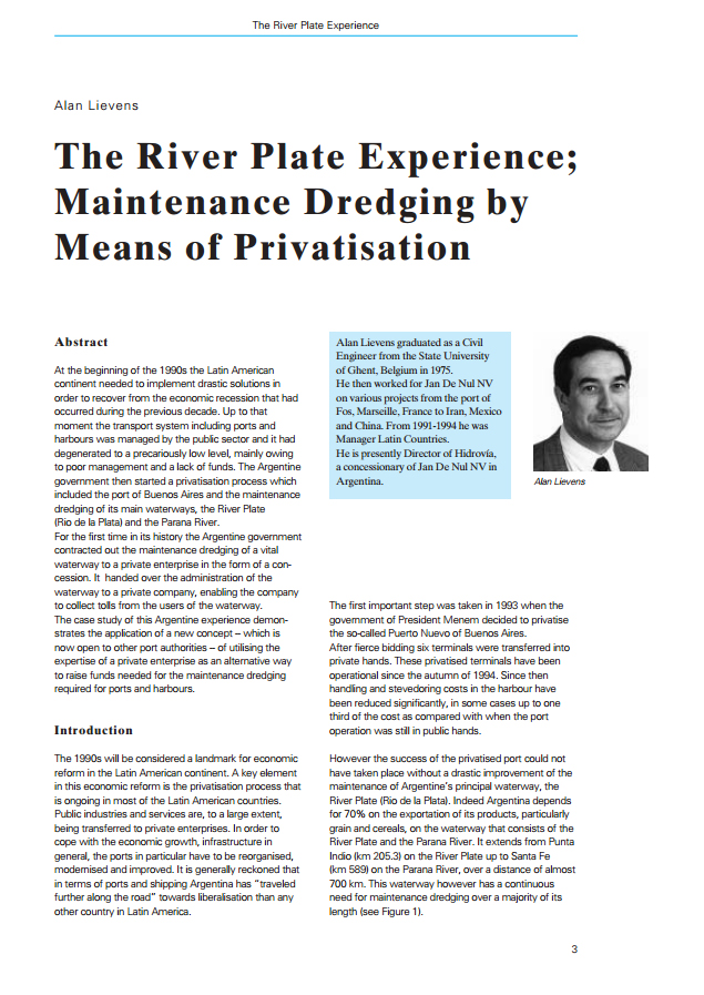 The River Plate Experience; Maintenance Dredging by Means of Privatisation