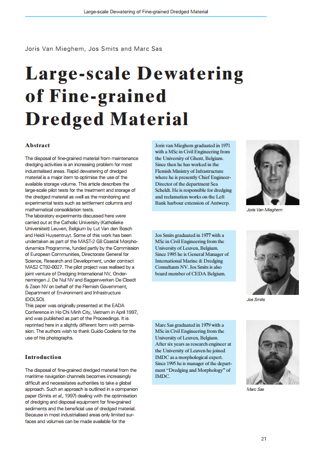 Large-scale Dewatering of Fine-grained Dredged Material