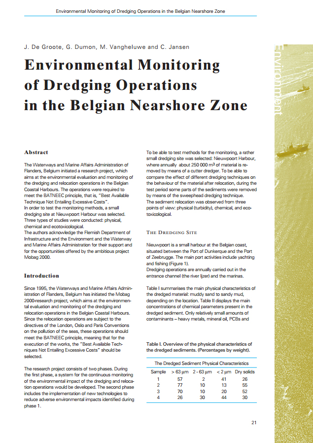 Environmental Monitoring of Dredging Operations in the Belgian Nearshore Zone