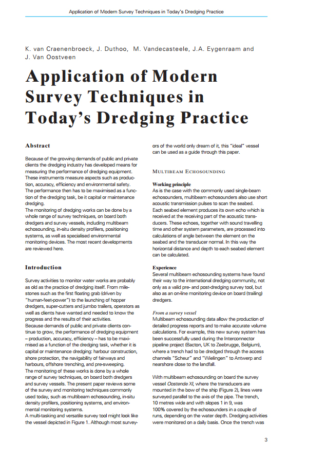 Application of Modern Survey Techniques in Today's Dredging Practice