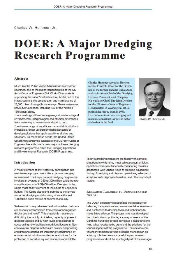 DOER: A Major Dredging Research Programme