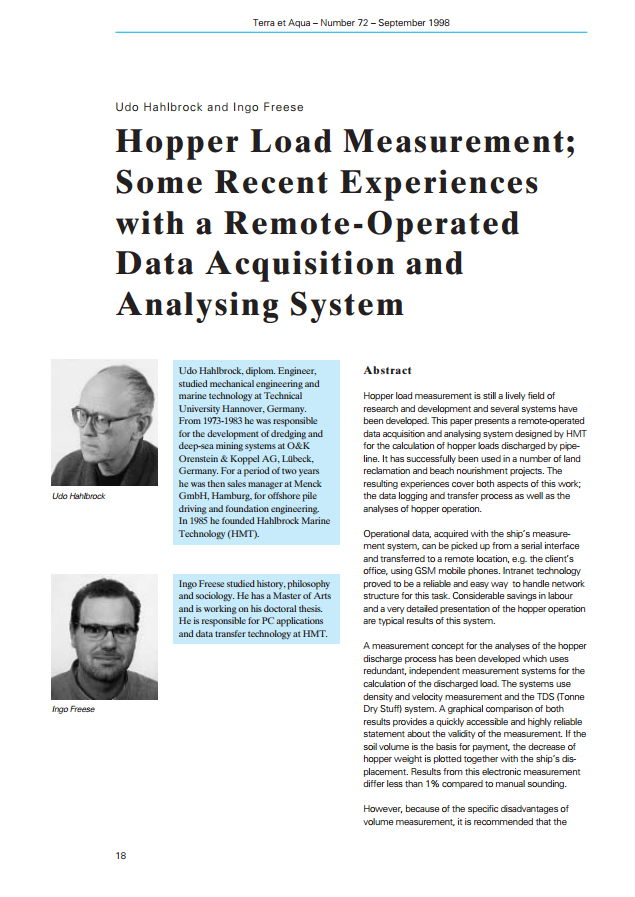 Hopper Load Measurement; Some Recent Experiences with a Remote-Operated Data Acquisition and Analysi