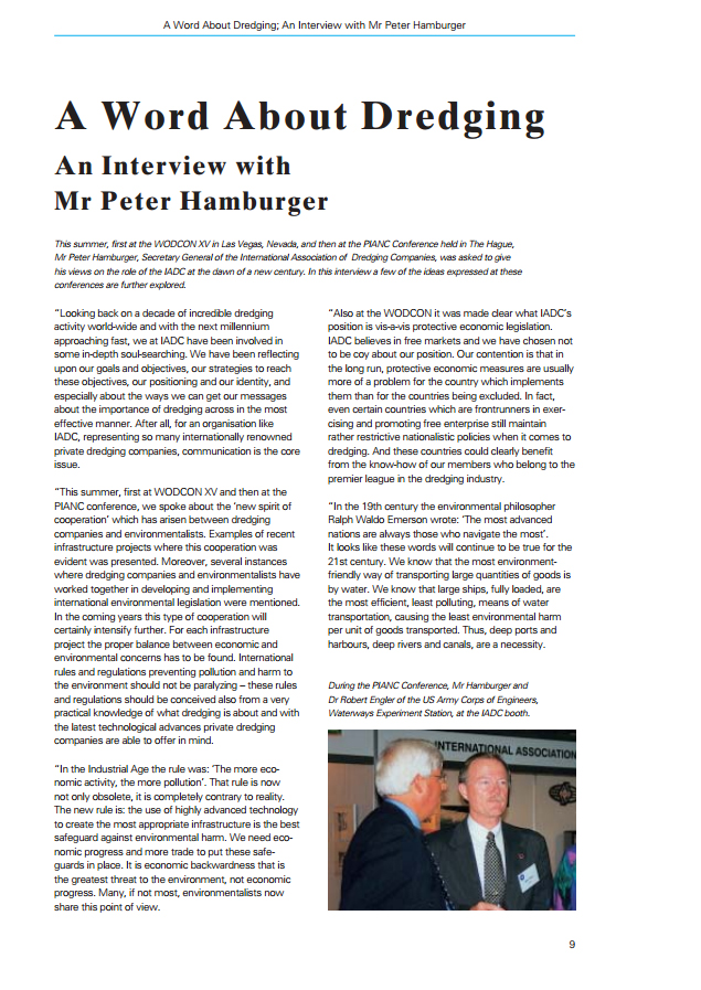 A Word About Dredging; An Interview with Mr Peter Hamburger