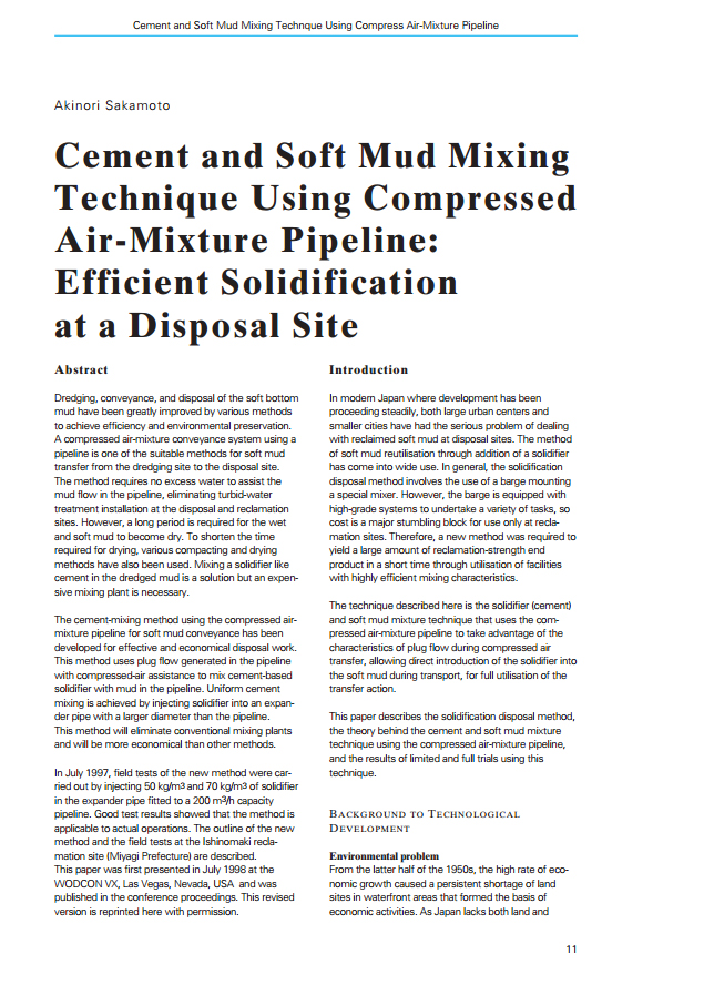 Cement and Soft Mud Mixing Technique Using Compressed Air-Mixture Pipeline: Efficient Solidification