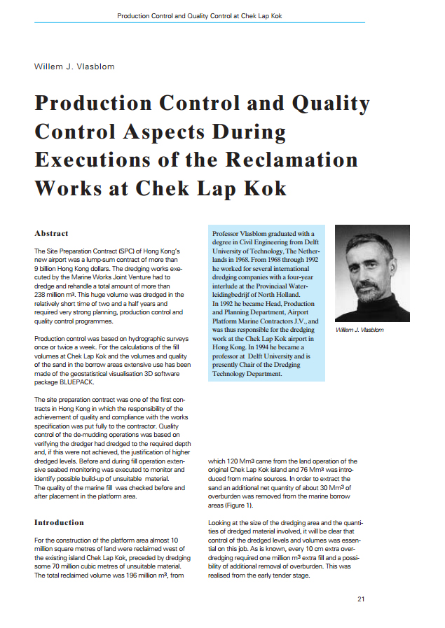Production and Quality Control Aspects During Executions of Reclamation Works at Chek Lap Kok