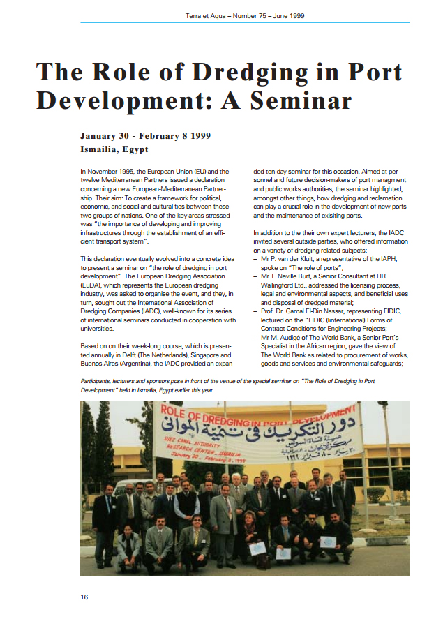 The Role of Dredging in Port Development: A Seminar
