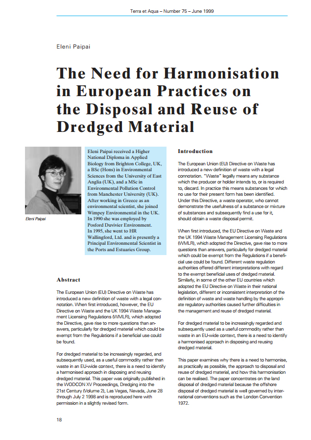 The Need for Harmonisation in European Practices on the Disposal and Reuse of Dredged Material