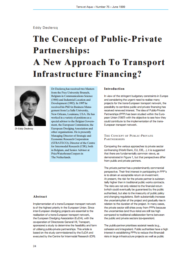 The Concept of Public-Private Partnerships: A New Approach to Transport Infrastructure Financing?