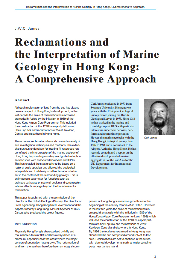 Reclamations and the Interpretation of Marine Geology in Hong Kong: A Comprehensive Approach