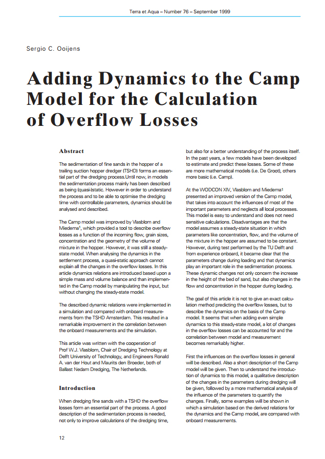 Adding Dynamics to the Camp Model for the Calculation of Overflow Losses