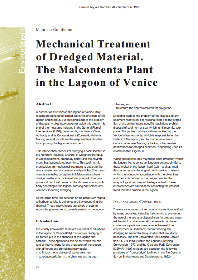 Mechanical Treatment of Dredged Material. The Malcontenta Plant in the Lagoon of Venic