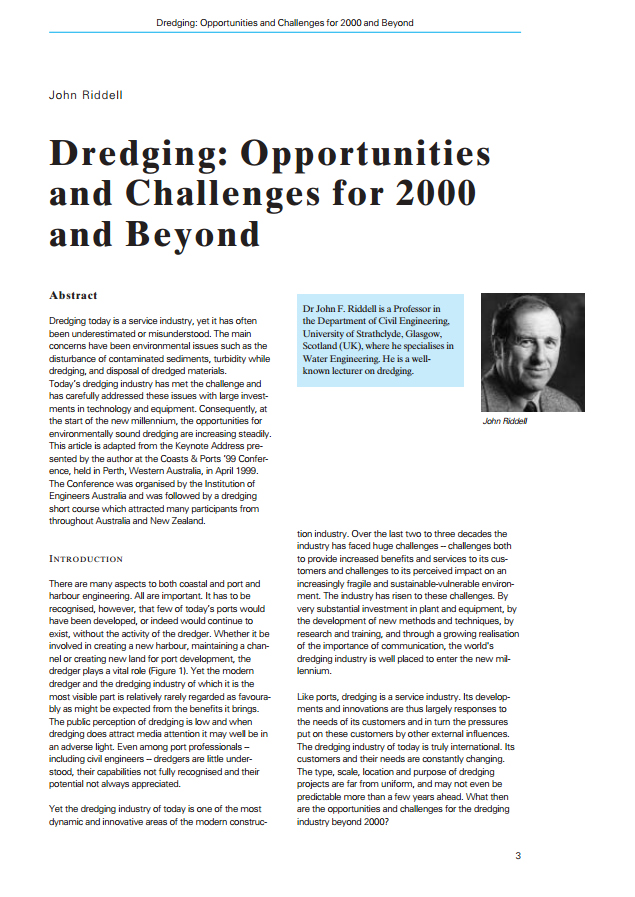 Dredging: Opportunities and Challenges for 2000 and Beyond