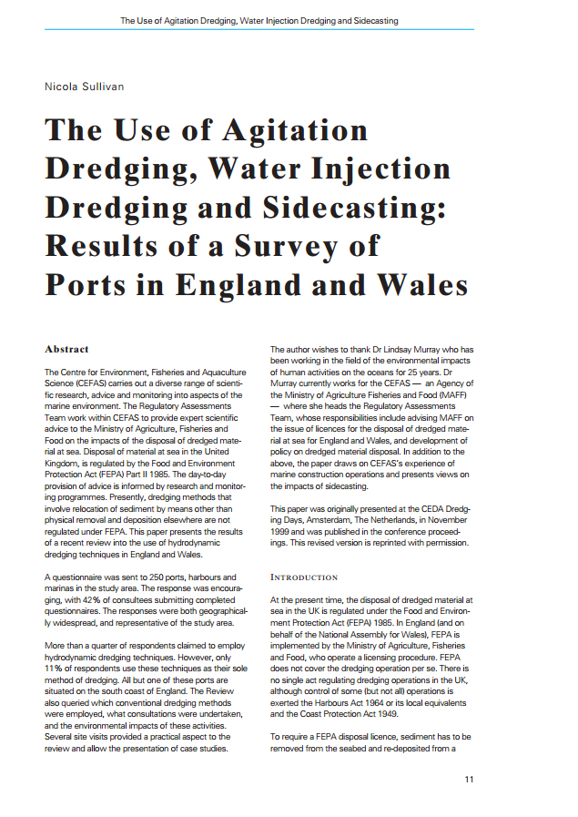 The Use of Agitation Dredging, Water Injection Dredging and Sidecasting: Results of a Survey of Port