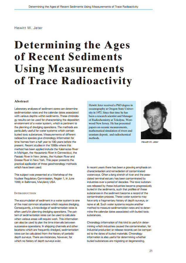 Determining the Ages of Recent Sediments Using Measurements of Trace Radioactivity