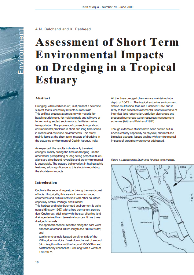 Assessment of Short Term Environmental Impacts on Dredging in a Tropical Estuary