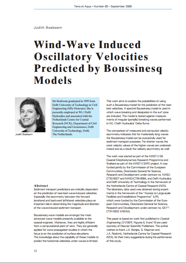 Wind-Wave Induced Oscillatory Velocities Predicted by Boussinesq Models