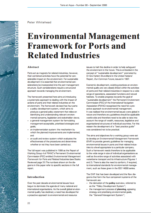 Environmental Management Framework for Ports and Related Industries