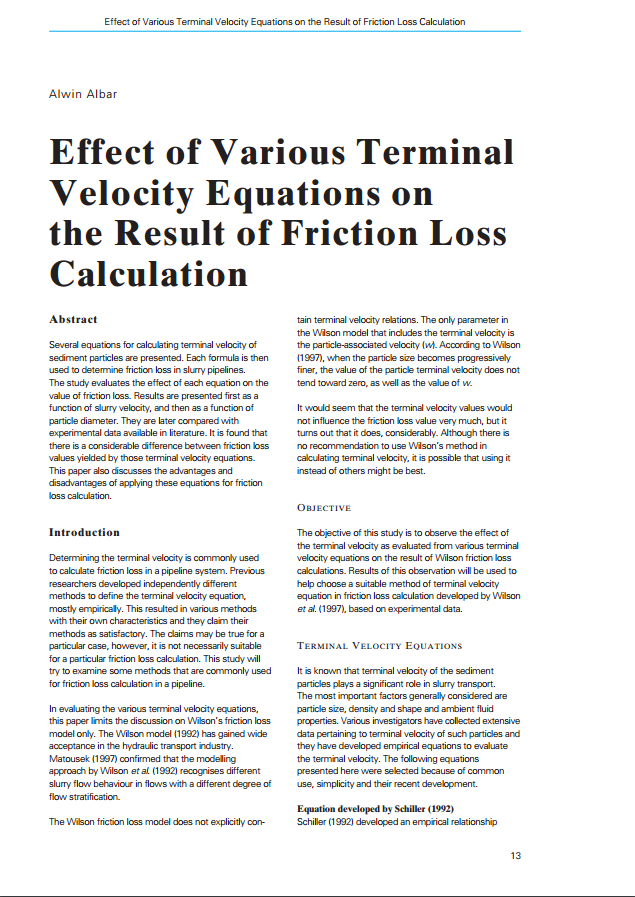Effect of Various Terminal Velocity Equations on the Result of Friction Loss Calculation