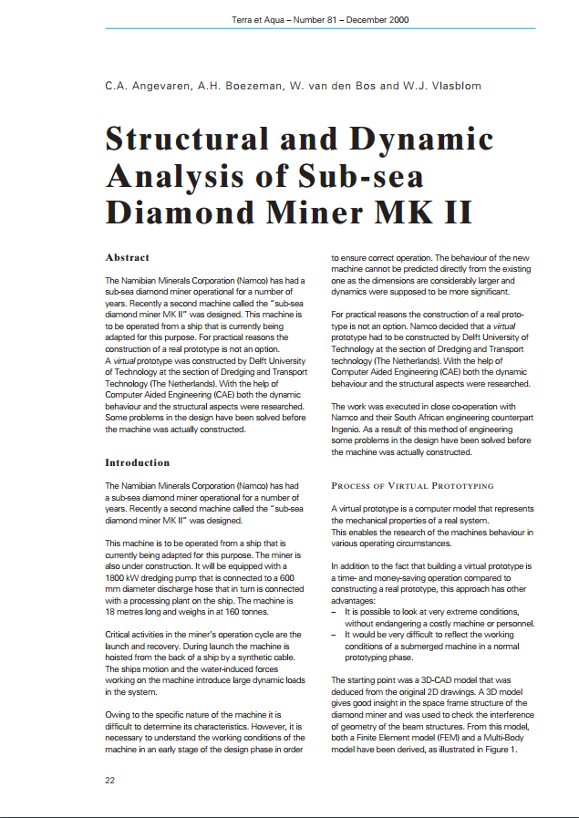 Structural and Dynamic Analysis of Sub-sea Diamond Miner MK II