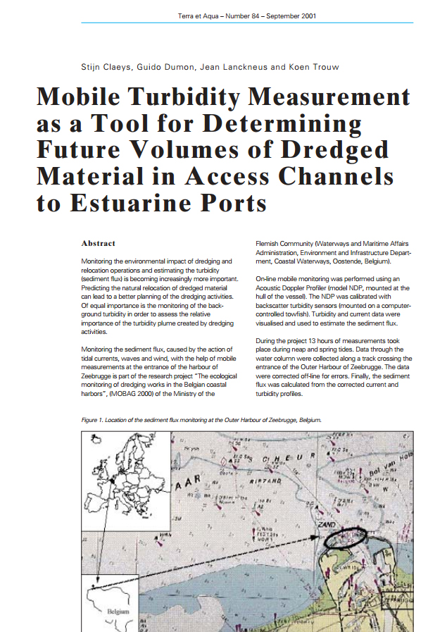 Mobile Turbidity Measurement as a Tool for Determining Future Volumes of Dredged Material in ...