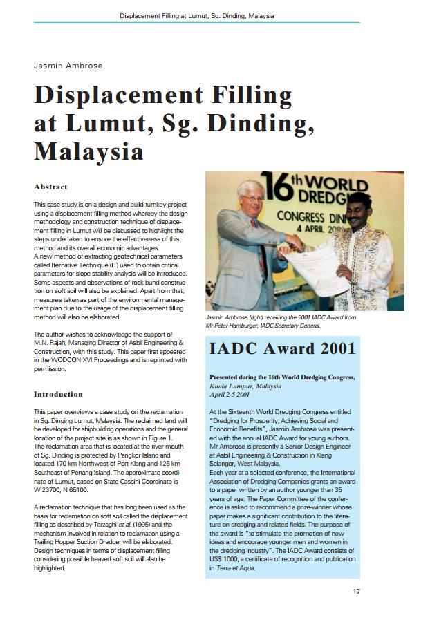 Displacement Filling at Lumut, Sg. Dinding, Malaysia