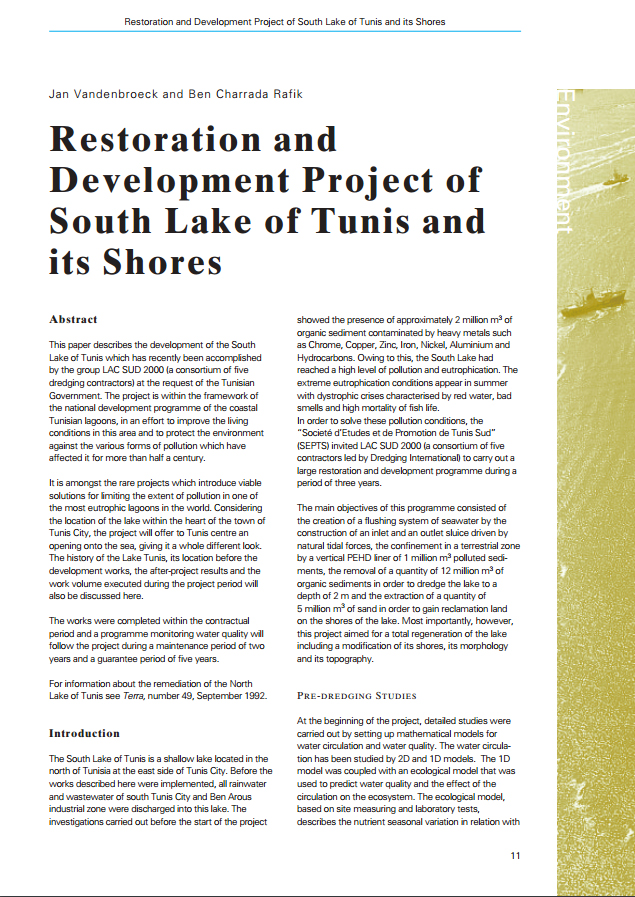 Restoration and Development Project of South Lake of Tunis and its Shores