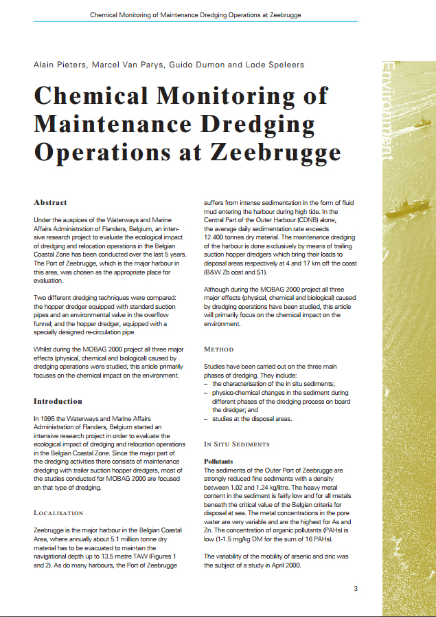 Chemical Monitoring of Maintenance Dredging Operations at Zeebrugge