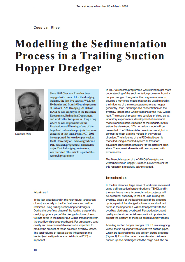 Modelling the Sedimentation Process in a Trailing Suction Hopper Dredger