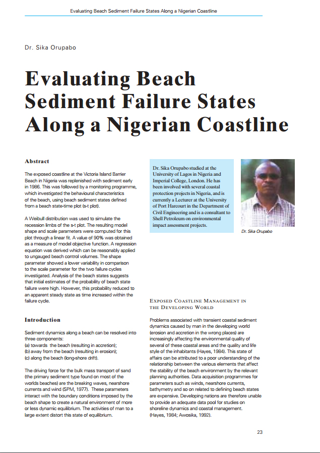 Evaluating Beach Sediment Failure States Along a Nigerian Coastline