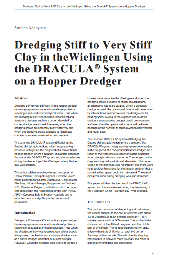 Dredging Stiff to Very Stiff Clay in the Wielingen Using the DRACULA® System on a Hopper Dredger