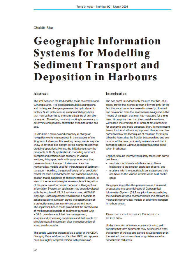 Geographic Information Systems for Modelling Sediment Transport and Desposition in Harbours