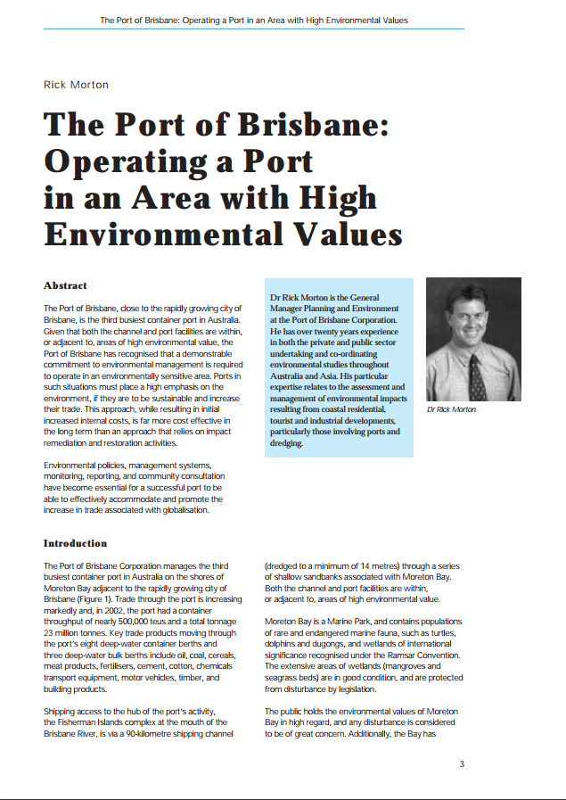 The Port of Brisbane: Operating a Port in an Area with High Environmental Values