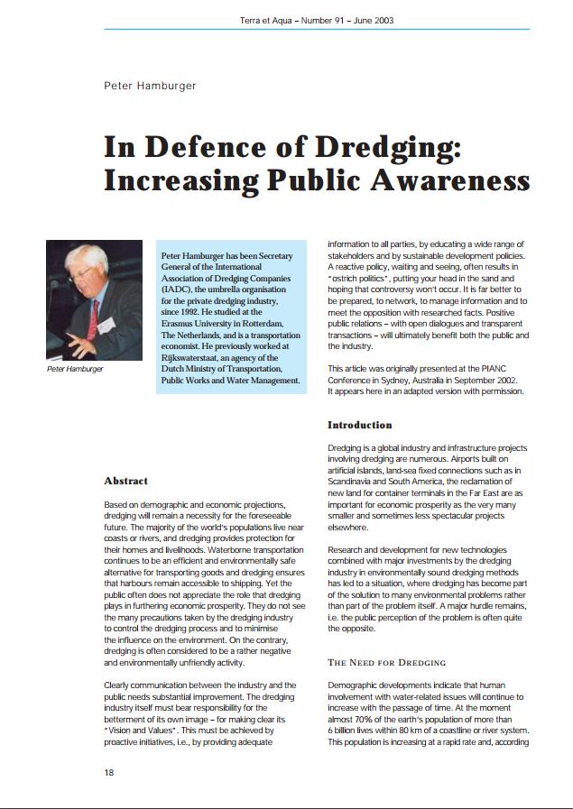 In Defence of Dredging: Increasing Public Awareness