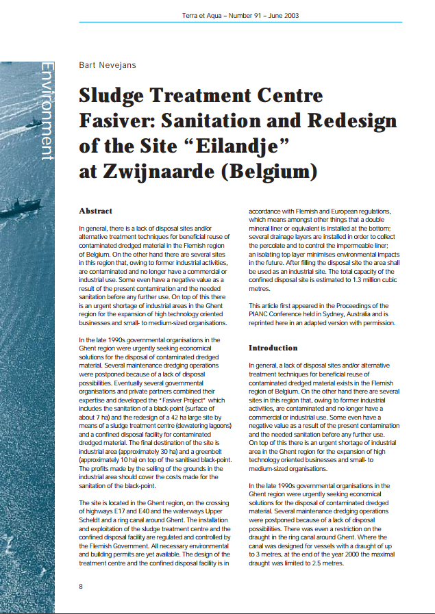 "Sludge Treatment Centre Fasiver: Sanitation and Redesign of the Site ""Eilandje"" at Zwijnaarde (Belgium)"