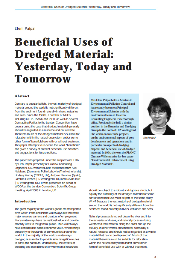 Beneficial Uses of Dredged Material: Yesterday, Today and Tomorrow