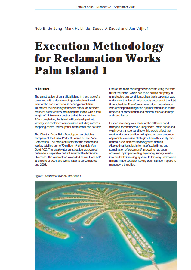 Execution Methodology for Reclamation Works Palm Island 1