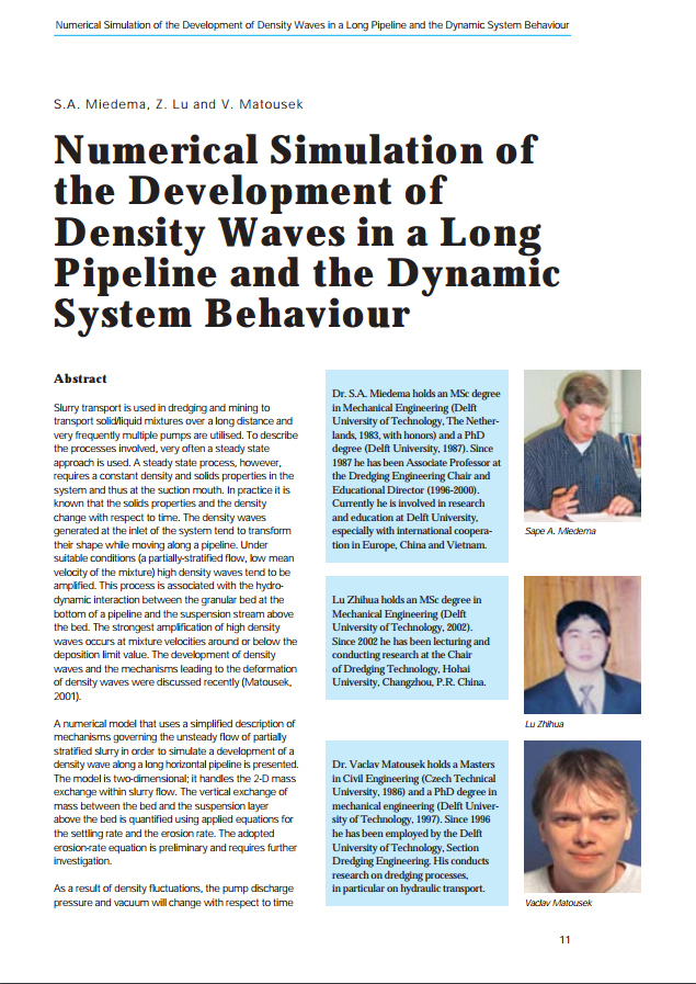 Numerical Simulation of the Development of Density Waves in a Long Pipeline and the Dynamic System B