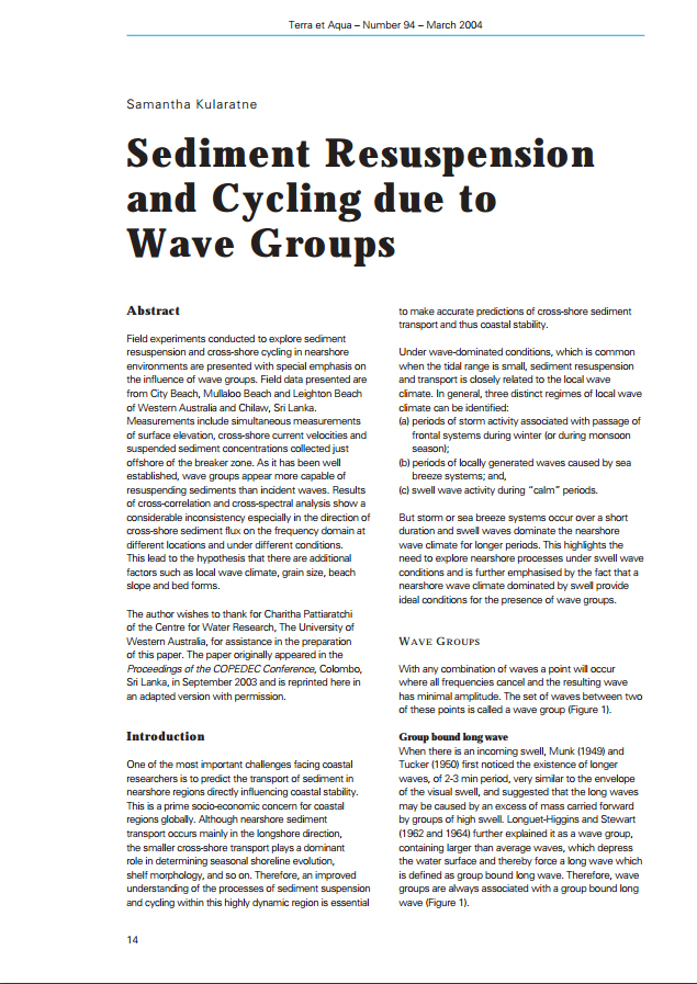 Sediment Resuspension and Cycling due to Wave Groups